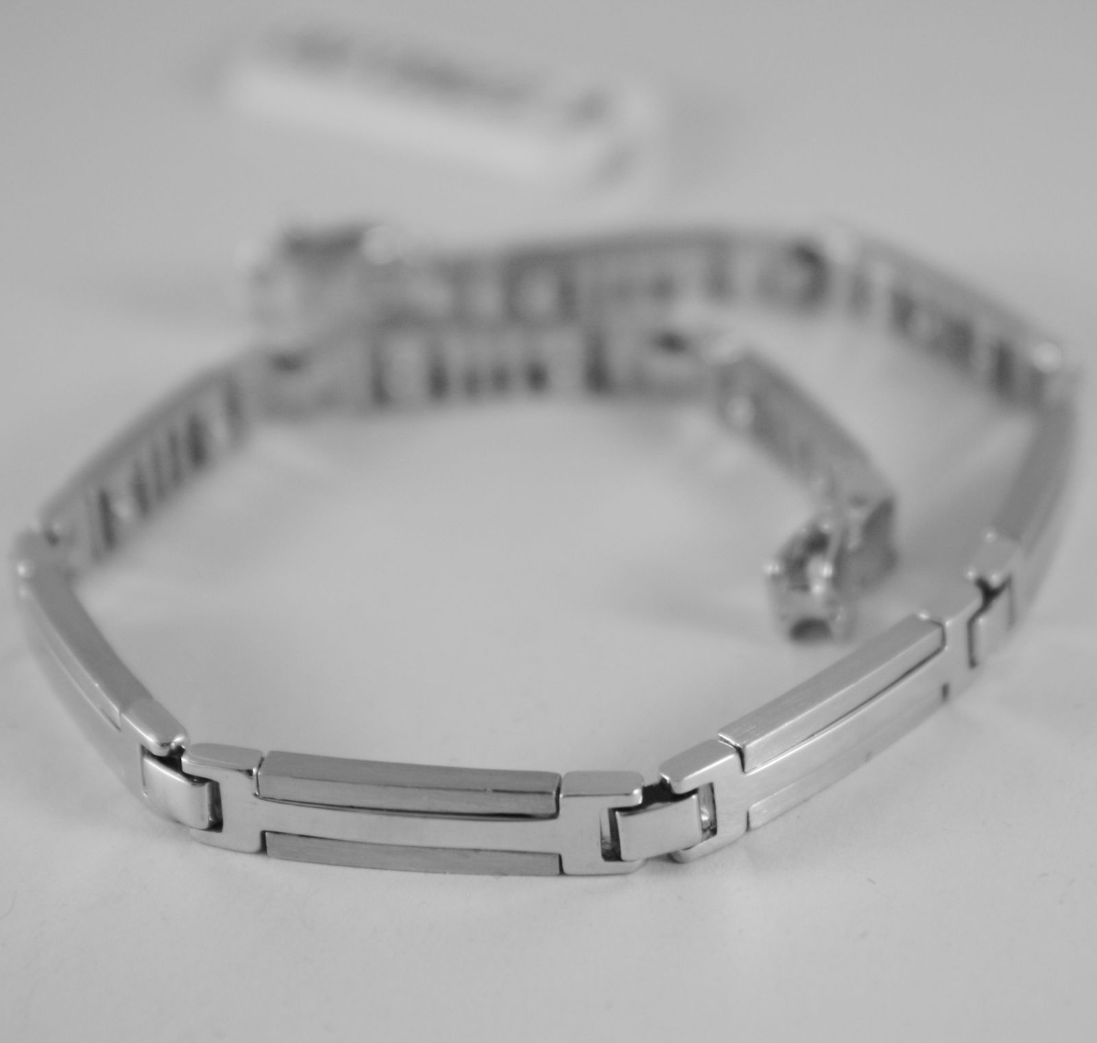 SOLID 18K WHITE GOLD BRACELET SQUARE 5 MM MESH, SATIN, 21 CM, MADE IN ITALY