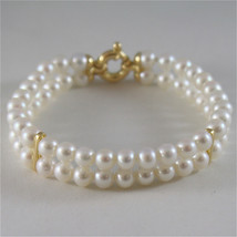 18K YELLOW GOLD BRACELET WITH TWO STRANDS WHITE FW PEARLS 7.08 IN MADE IN ITALY