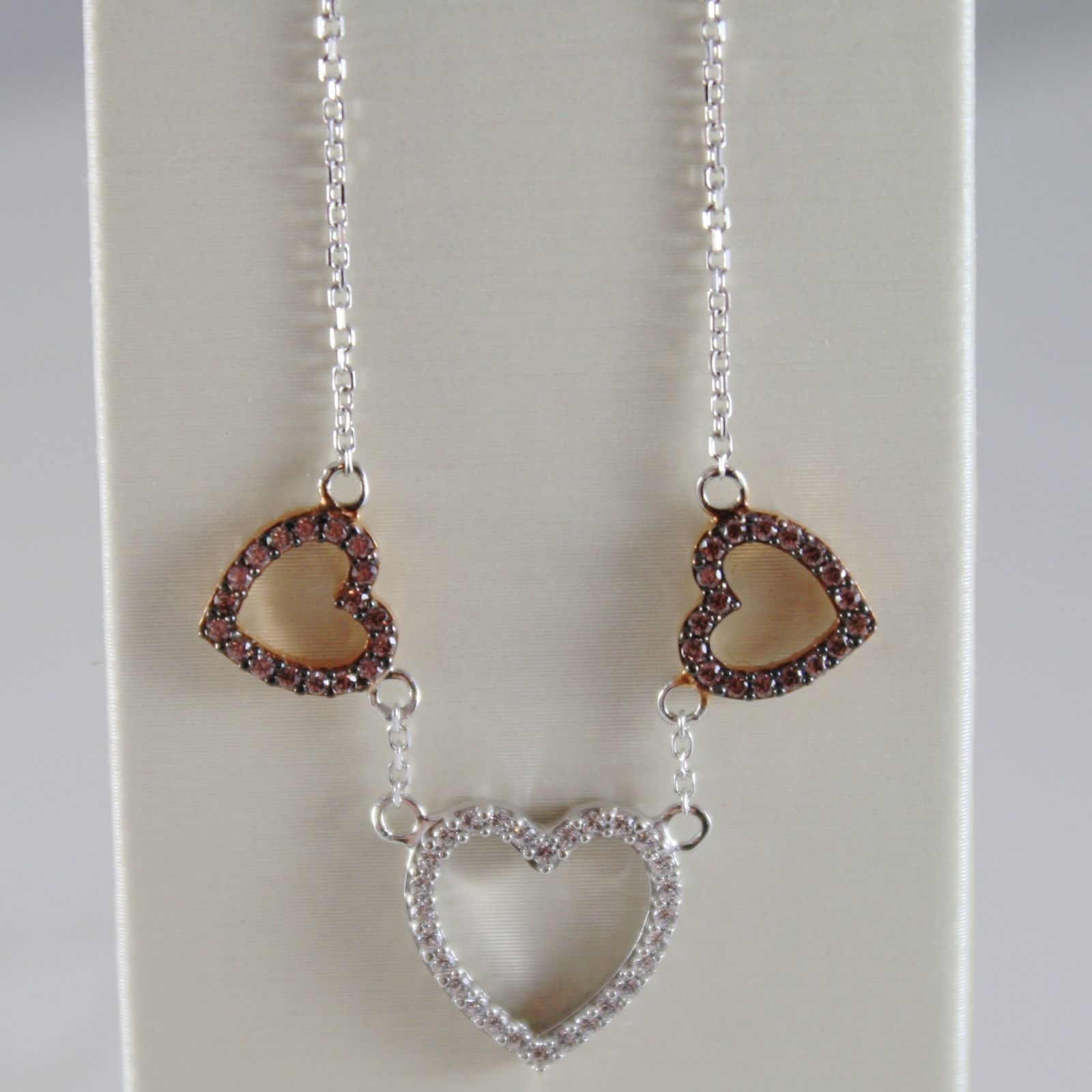 18K WHITE ROSE GOLD NECKLACE 3 HEARTS HEART BROWN WHITE ZIRCONIA MADE IN ITALY