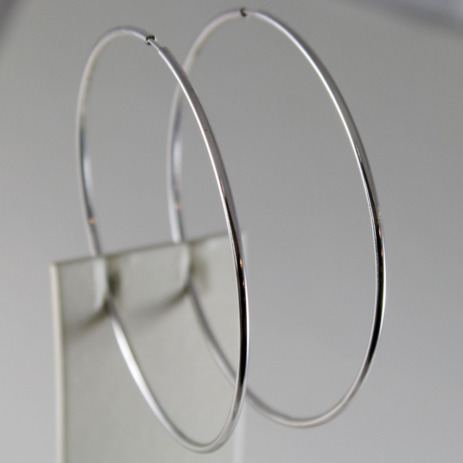 18K WHITE GOLD EARRINGS BIG CIRCLE HOOP 67 MM 2.64 INCH DIAMETER MADE IN ITALY
