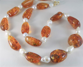 SOLID 18K YELLOW GOLD NECKLACE WITH DROP PEARLS AND BALTIC AMBER MADE IN ITALY