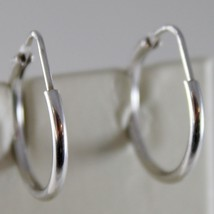 18K WHITE GOLD EARRINGS LITTLE CIRCLE HOOP 18 MM 0.71 IN DIAMETER MADE IN ITALY image 1