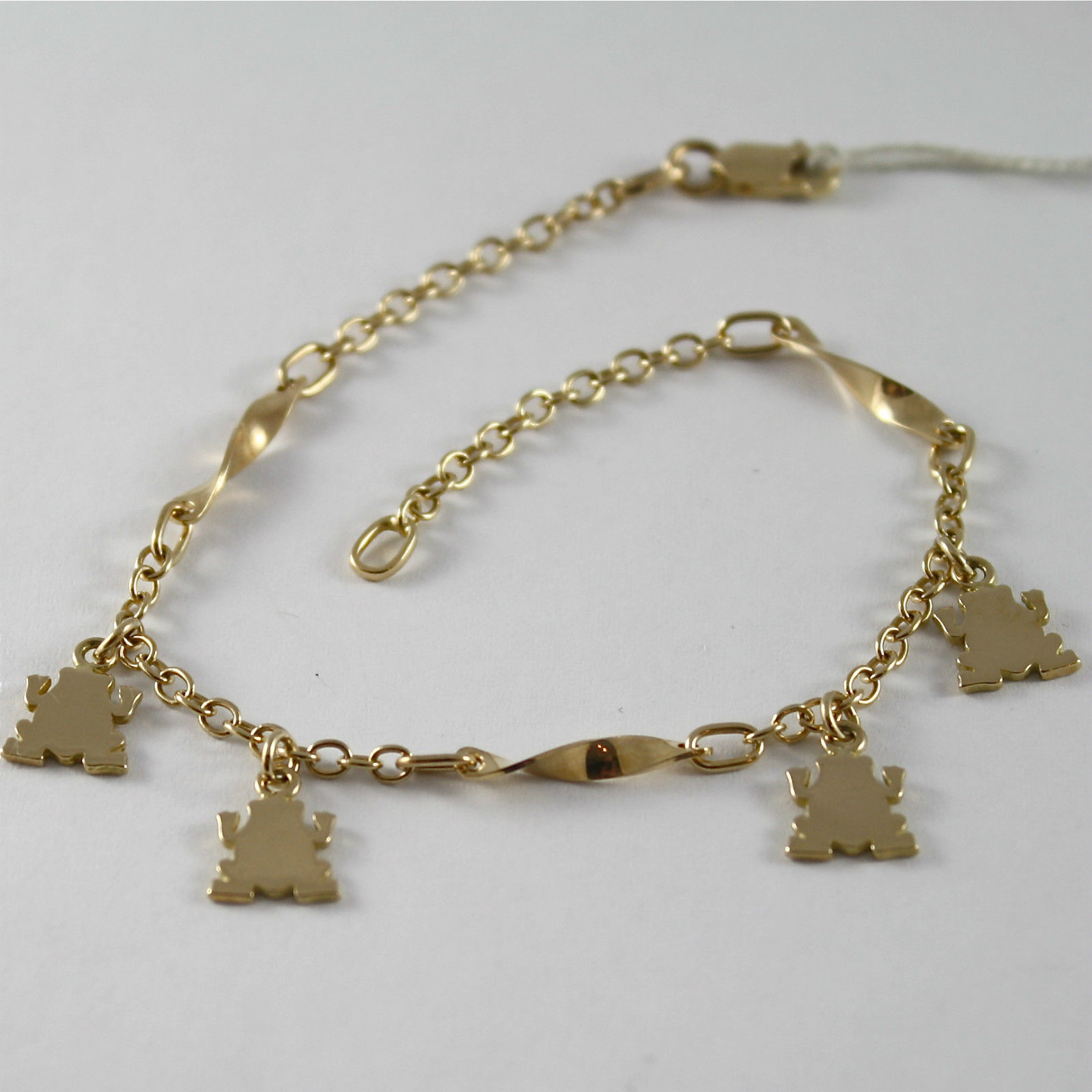 SOLID 18K YELLOW GOLD BRACELET WITH FROGS PENDANT, FROG, MADE IN ITALY