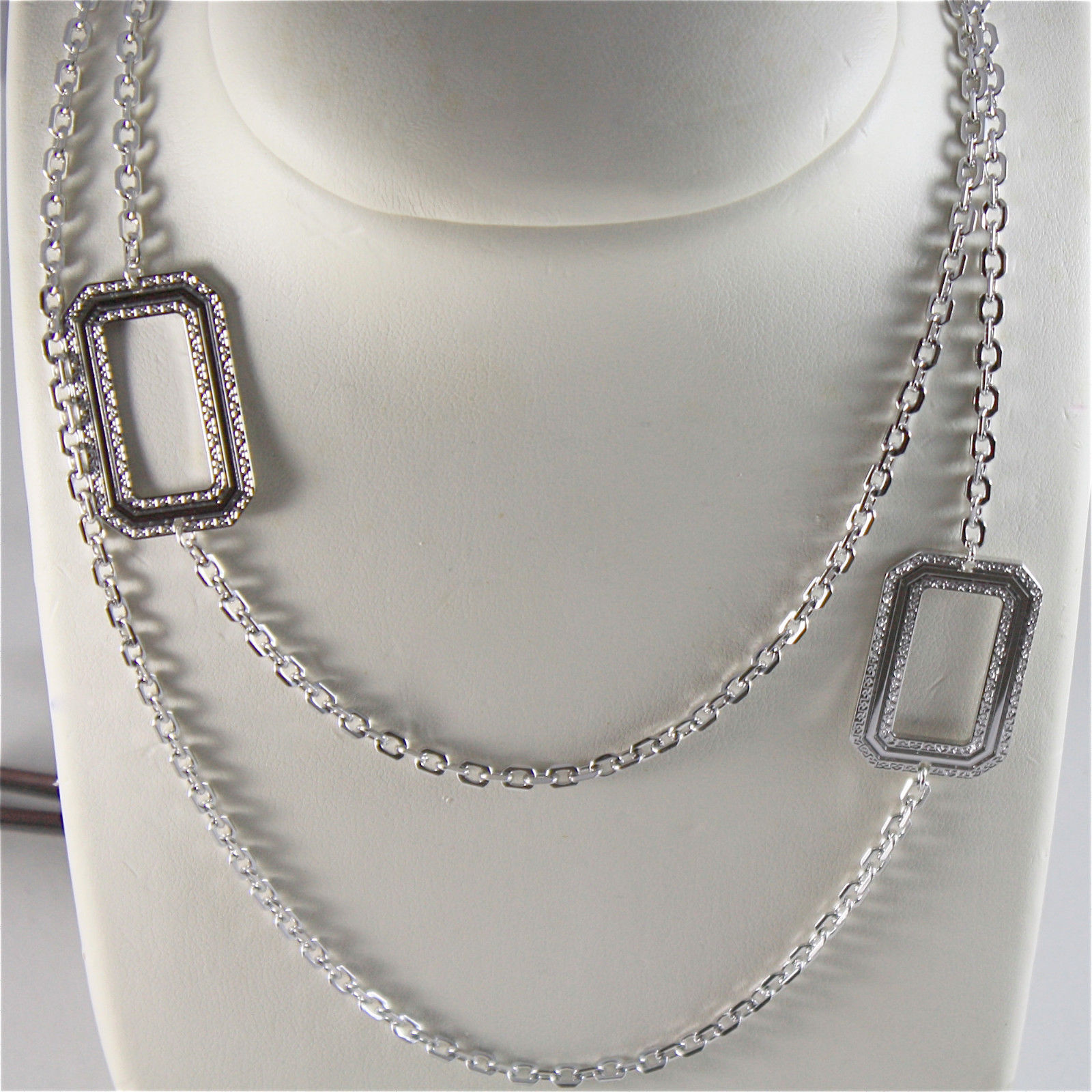 WHITE GOLD PLATED BRONZE REBECCA NECKLACE ELIZABETH BELKBB03 MADE IN ITALY