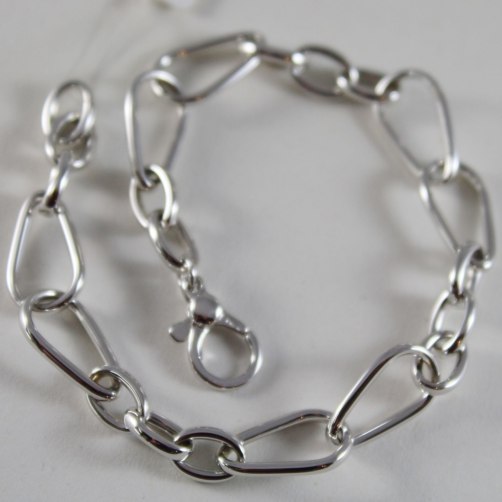 18K WHITE GOLD BRACELET OVAL AND DROP LINK, 8 MM, 7.50 INCHES, MADE IN ITALY