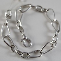18K White Gold Bracelet Oval And Drop Link, 8 Mm, 7.50 Inches, Made In Italy - $489.44