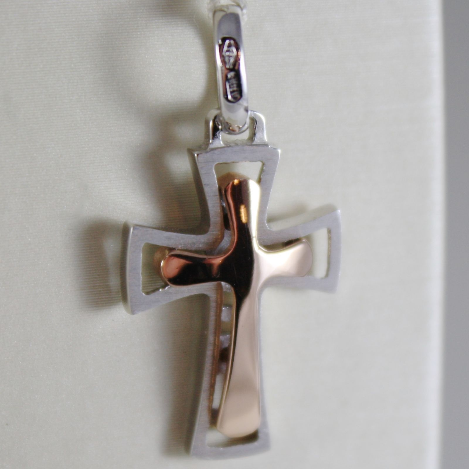 18K ROSE WHITE GOLD CROSS, SHINY BRIGHT AND SATIN, 1.06 INCHES, MADE IN ITALY