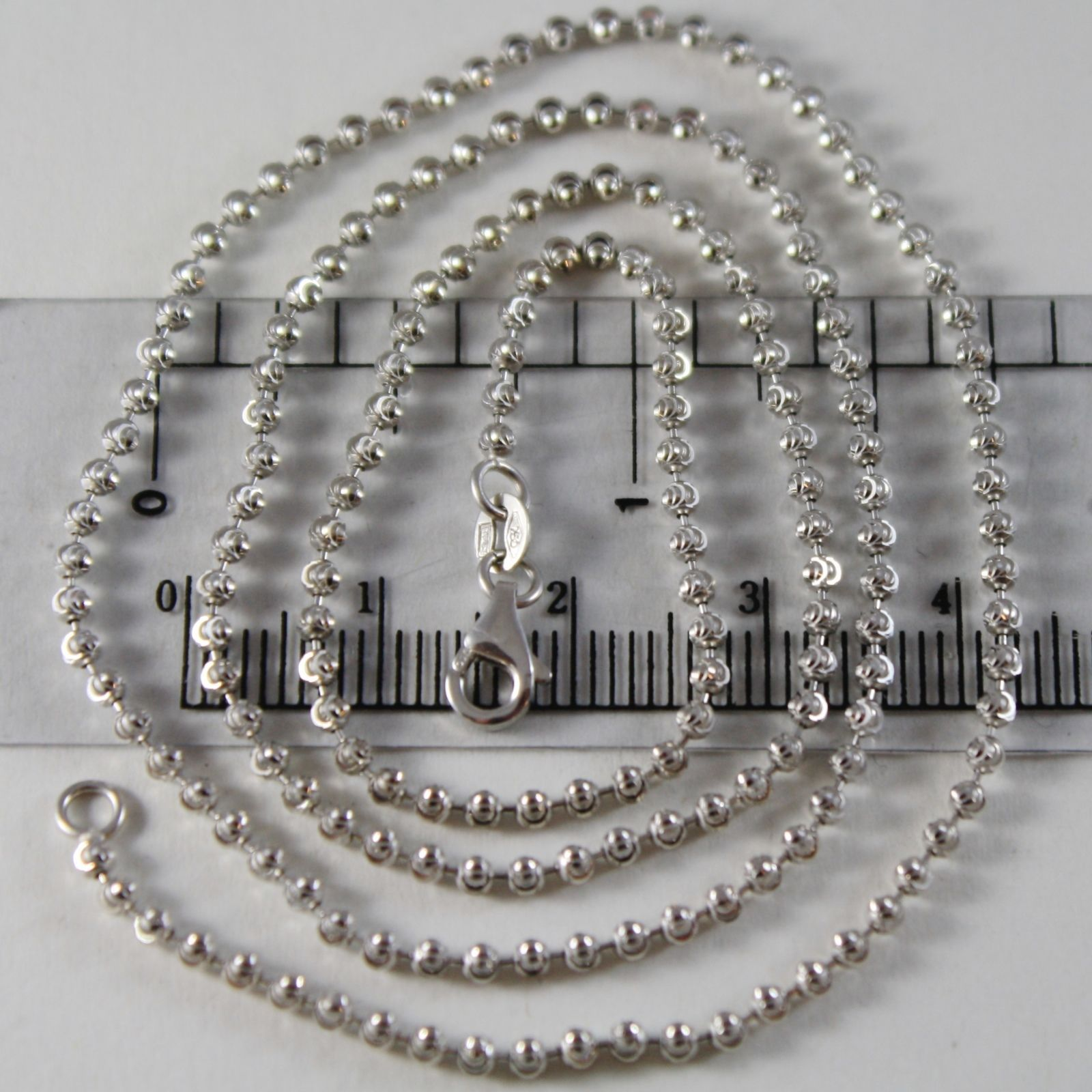 18K WHITE GOLD CHAIN FINELY WORKED BALLS BALL SPHERES 2 MM, 15.45, MADE IN ITALY
