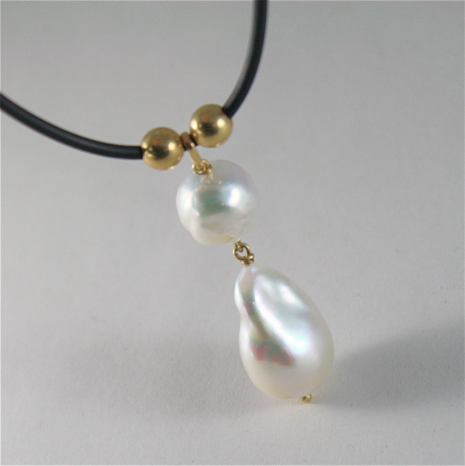 SOLID 18K YELLOW GOLD & SILICON NECKLACE WITH BAROQUE & DROP PEARL MADE IN ITALY