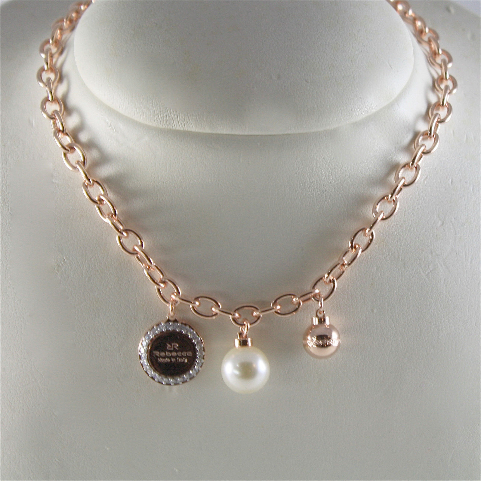 ROSE GOLD PLATED BRONZE REBECCA PEARL NECKLACE HOLLYWOOD BHOKRR01 MADE IN ITALY