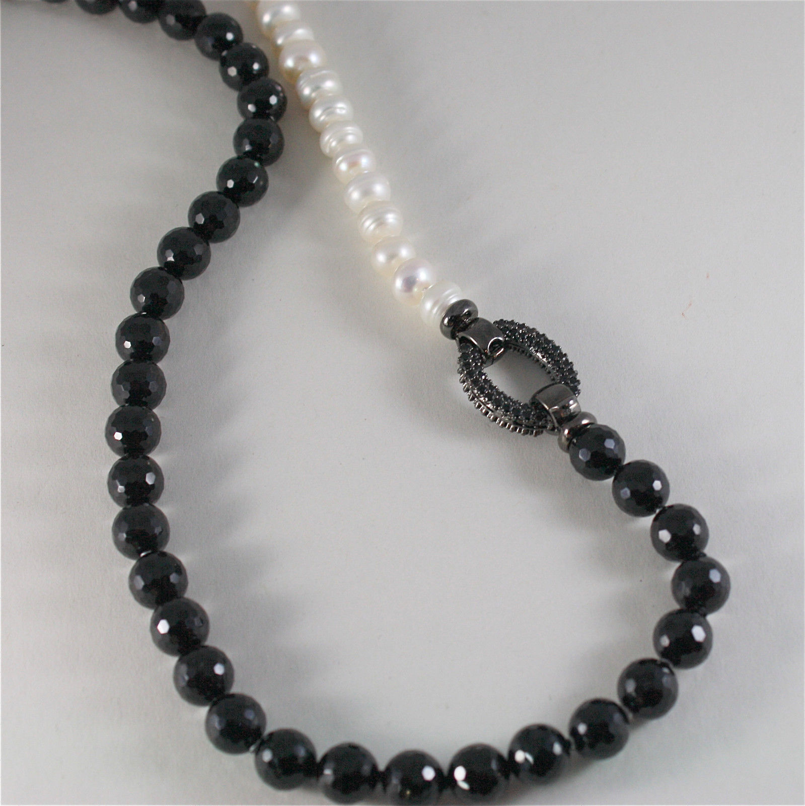 .925 SILVER BURNISH NECKLACE WITH ONYX, PEARLS AND BEAUTIFUL CLASP WITH CRYSTALS