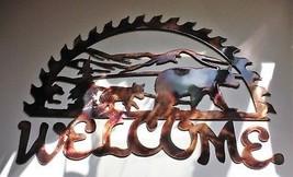 "Half Saw Bear Metal Wall Art Welcome Decor 18"" W x 12"" T Copper/Bronze - $38.60"