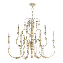 Horchow Neiman Marcus 9 light Beaded French Modern 2 Tier Chandelier Large - $642.51