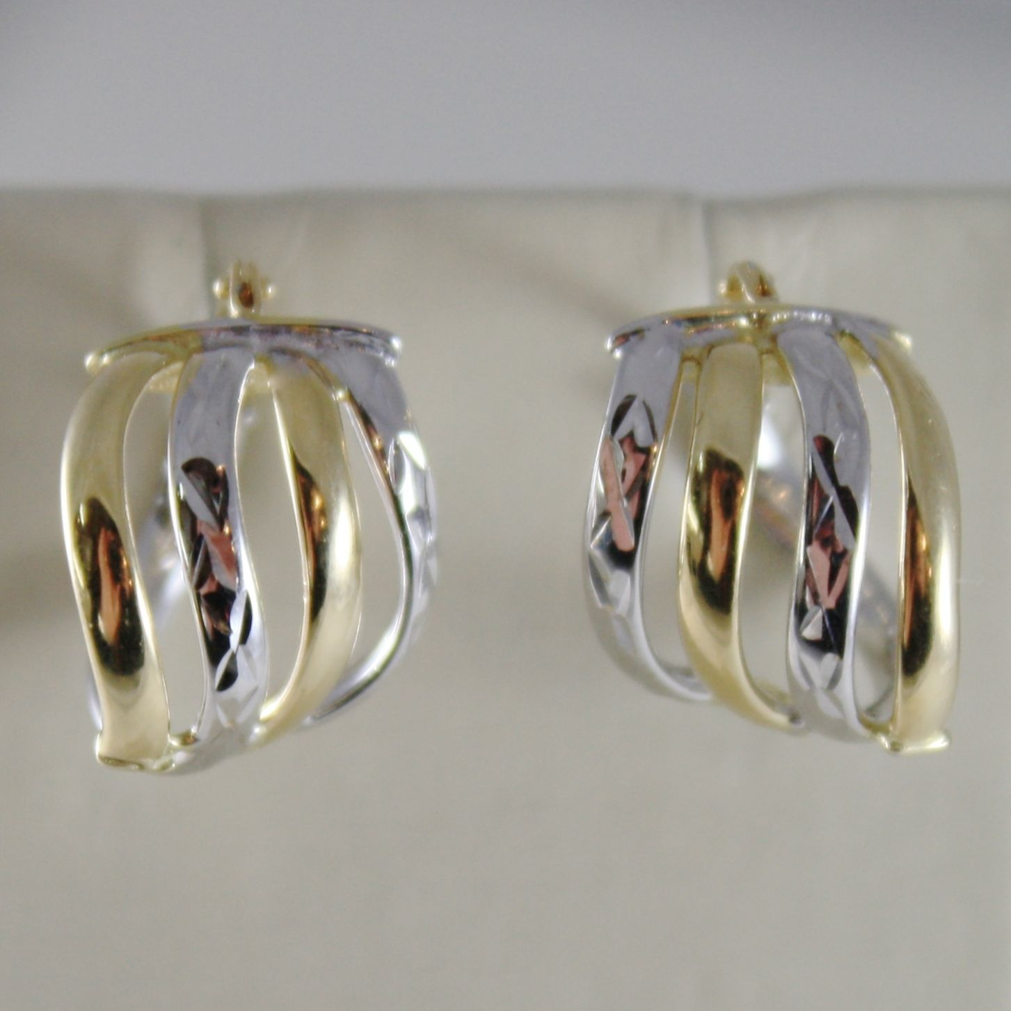 18K YELLOW WHITE GOLD EARRINGS ALTERNATE WORKED HOOPS HOOP 13 MM MADE IN ITALY