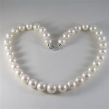 SOLID 18K WHITE GOLD NECKLACE WITH BIG LUSTER ROUND 12 MM PEARLS MADE IN... - $1,045.00
