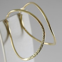 18K YELLOW GOLD EARRINGS BIG ONDULATE WORKED CIRCLE HOOPS 45 MM MADE IN ITALY