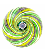 John Deacons Studio Glass Swirl Paperweight with Central Clichy Rose, 2014 - $275.00
