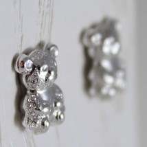 18K WHITE GOLD EARRINGS WITH MINI SATIN BEAR BEARS FOR KIDS CHILD, MADE IN ITALY image 2