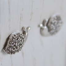 18K WHITE GOLD EARRINGS WITH MINI SNAIL & ZIRCONIA FOR KIDS CHILD MADE IN ITALY image 2