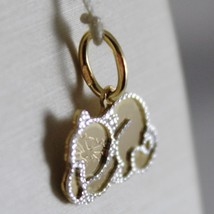 18K WHITE & YELLOW GOLD LITTLE CAT FLAT PENDANT FINELY WORKED, MADE IN ITALY image 2