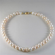 SOLID 18K YELLOW GOLD NECKLACE WITH MULTICOLOR FRESHWATER PEARLS MADE IN ITALY