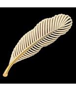 VTG Monet Leaf Brooch Pin White Enamel and Gold Tone Signed Approximatel... - $24.74