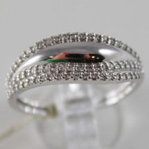 SOLID 18K WHITE GOLD BAND RING LUMINOUS AND BRIGHT, WAVE, ZIRCONIA MADE IN ITALY