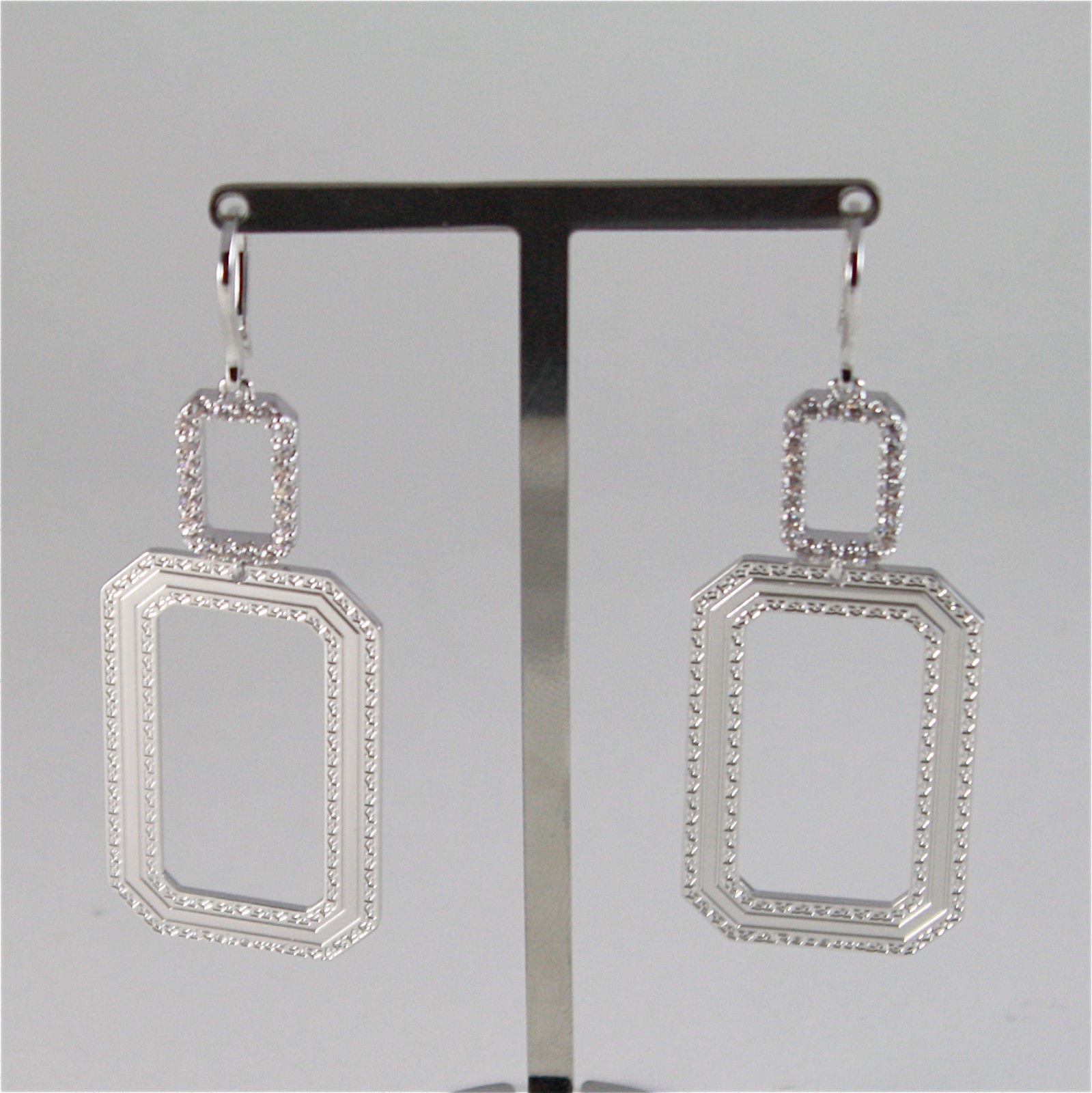 WHITE GOLD PLATED BRONZE REBECCA HOOK EARRINGS ELIZABETH BELOBB05 MADE IN ITALY