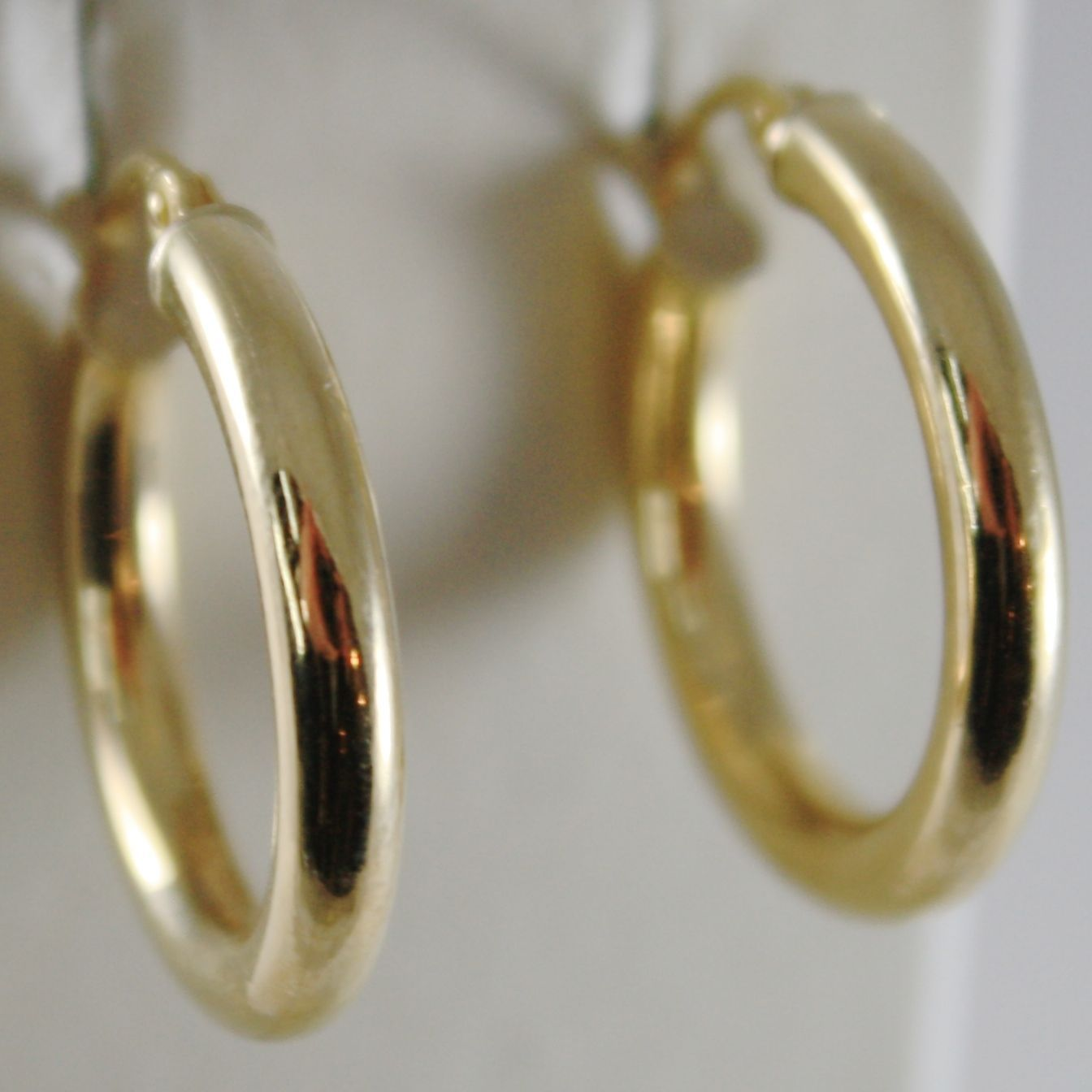 18K YELLOW GOLD EARRINGS CIRCLE HOOP 21 MM 0.83 INCHES DIAMETER MADE IN ITALY