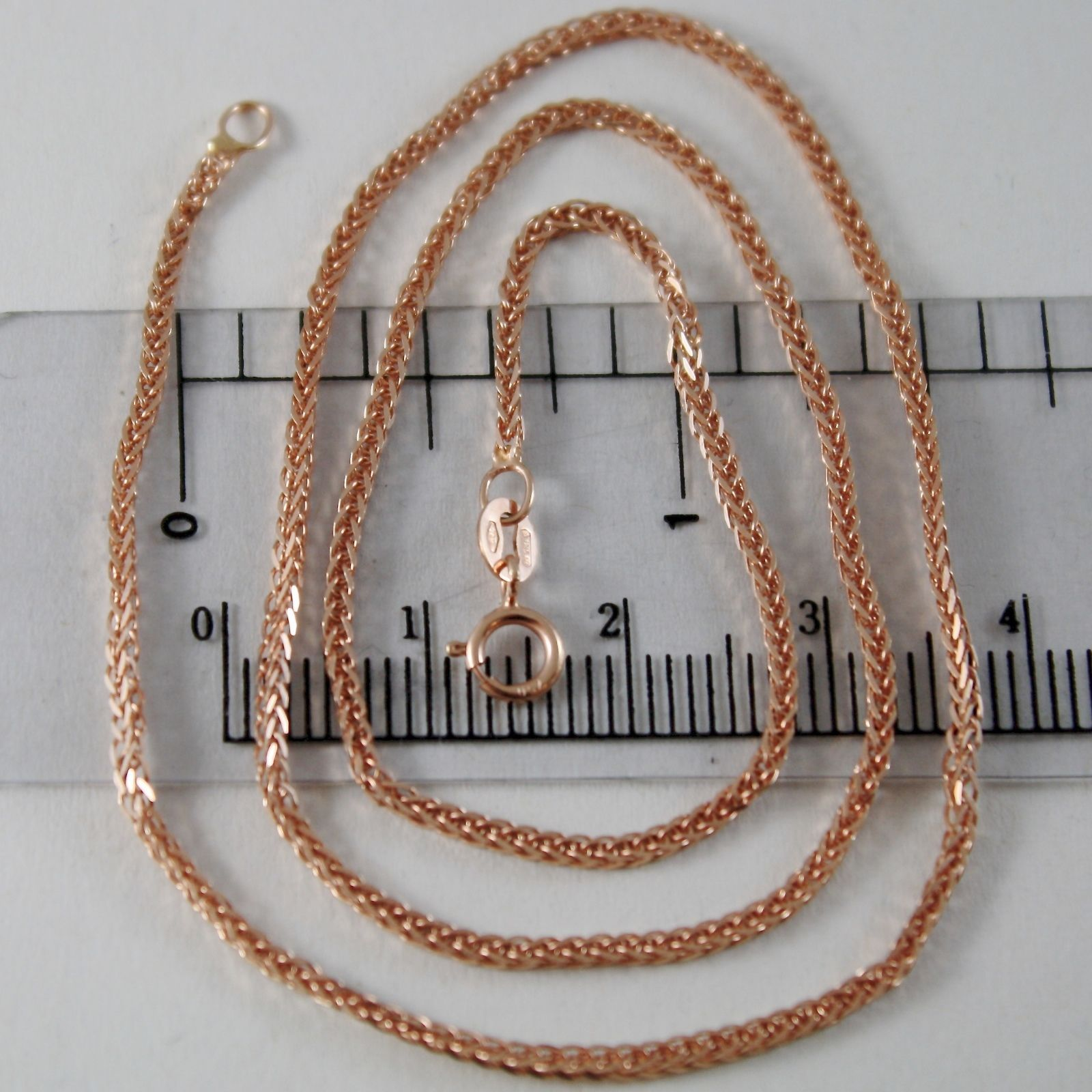 18K ROSE PINK GOLD CHAIN NECKLACE MINI EAR LINK 1.1 MM, 15.75 IN. MADE IN ITALY