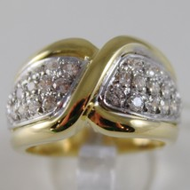 SOLID 18K WHITE & YELLOW GOLD BAND RING LUMINOUS, BRAID ROPE, MADE IN ITALY