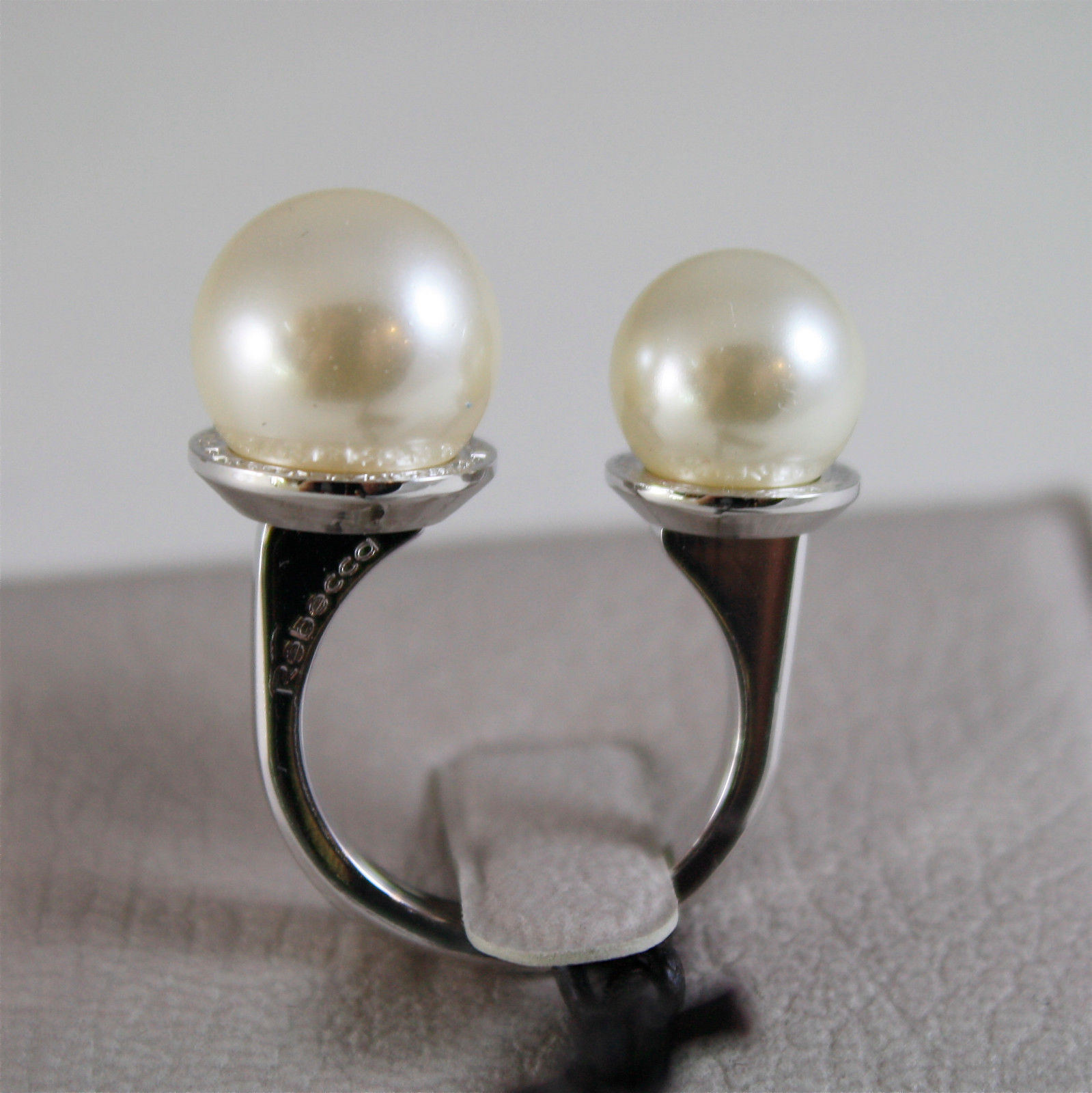 WHITE GOLD PLATED BRONZE REBECCA PEARLS RING HOLLYWOOD BHOABB07 MADE IN ITALY