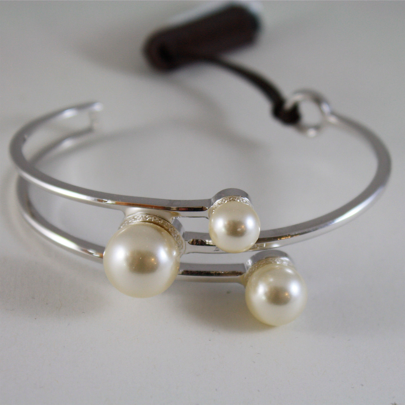 WHITE GOLD PLATED BRONZE REBECCA PEARL BRACELET HOLLYWOOD BHOBBB15 MADE IN ITALY