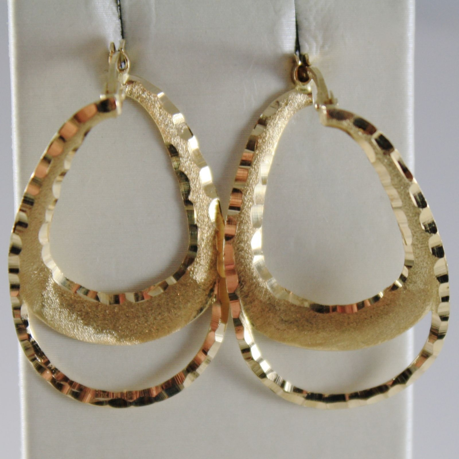 18K YELLOW GOLD EARRINGS PENDANT WORKED & SATIN DROP 30 MM LENGHT MADE IN ITALY