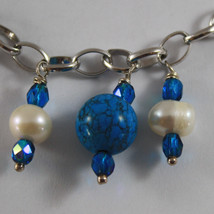 .925 RHODIUM SILVER BRACELET WITH BLUE CRYSTALS,WHITE PEARLS AND TURQUOISE image 2
