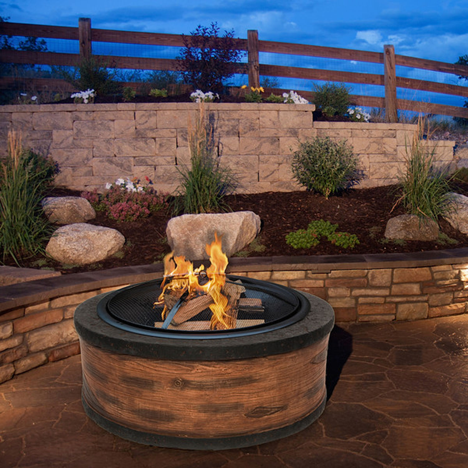 Round Fire Pit Wood Burning Fireplace Outdoor Patio Garden