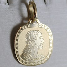 18K YELLOW GOLD MEDAL PENDANT FACE OF JESUS CHRIST ENGRAVABLE MADE IN ITALY image 1