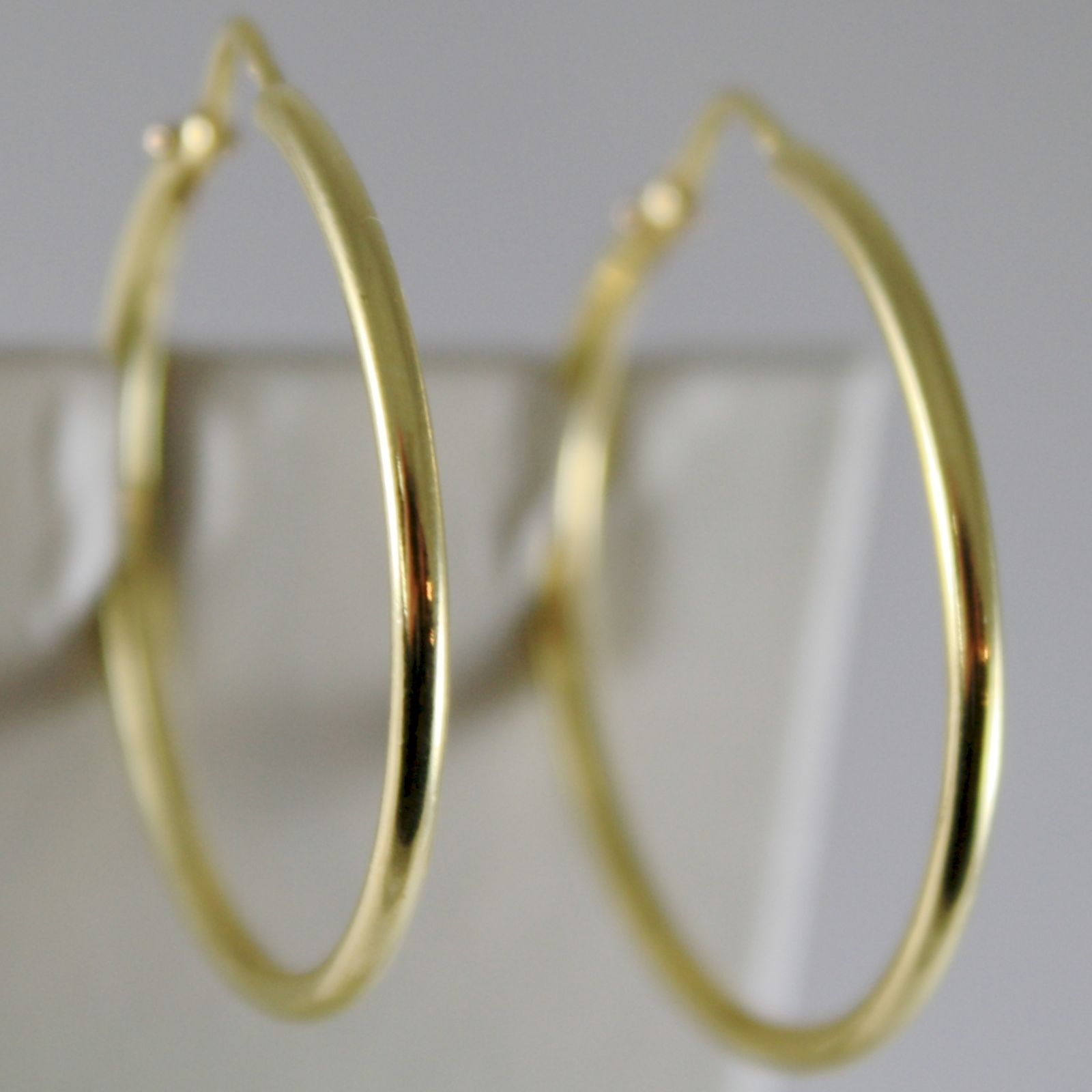 18K YELLOW GOLD EARRINGS CIRCLE HOOP 28 MM 1.10 INCHES DIAMETER MADE IN ITALY
