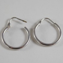 18K WHITE GOLD EARRINGS LITTLE CIRCLE HOOP 18 MM 0.71 IN DIAMETER MADE IN ITALY image 3