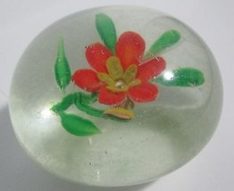 """Vintage Glass Paperweight Pink Flower ~ Heavy, Approx. 2 1/4"""" Across Base - $24.70"""