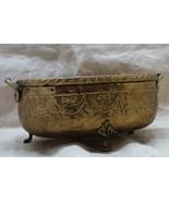 Vintage Rustic  Hammered  Brass Floral Garland Footed Planter Brass Bowl  - $11.00