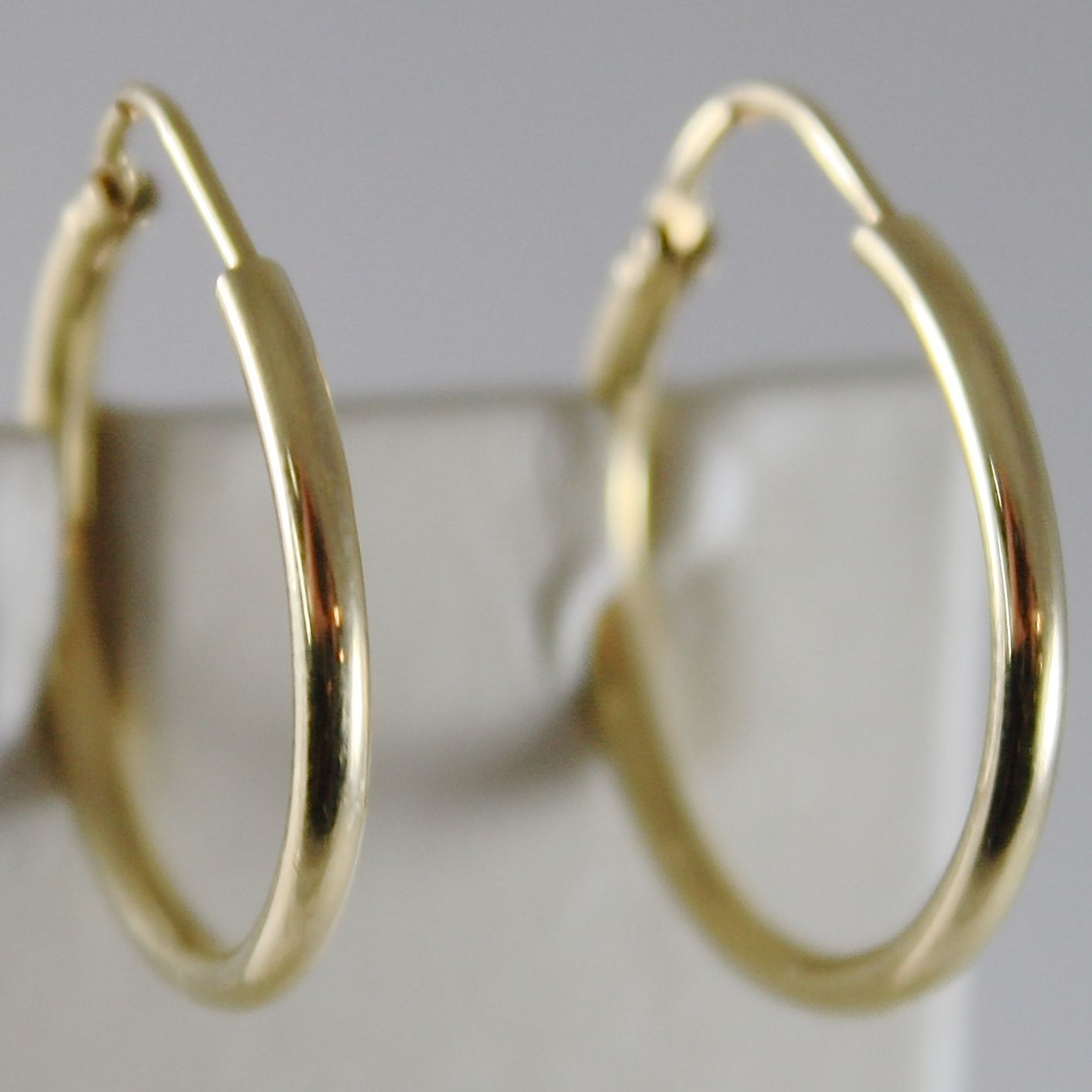 18K YELLOW GOLD EARRINGS CIRCLE HOOP 22 MM 0.87 INCHES DIAMETER MADE IN ITALY