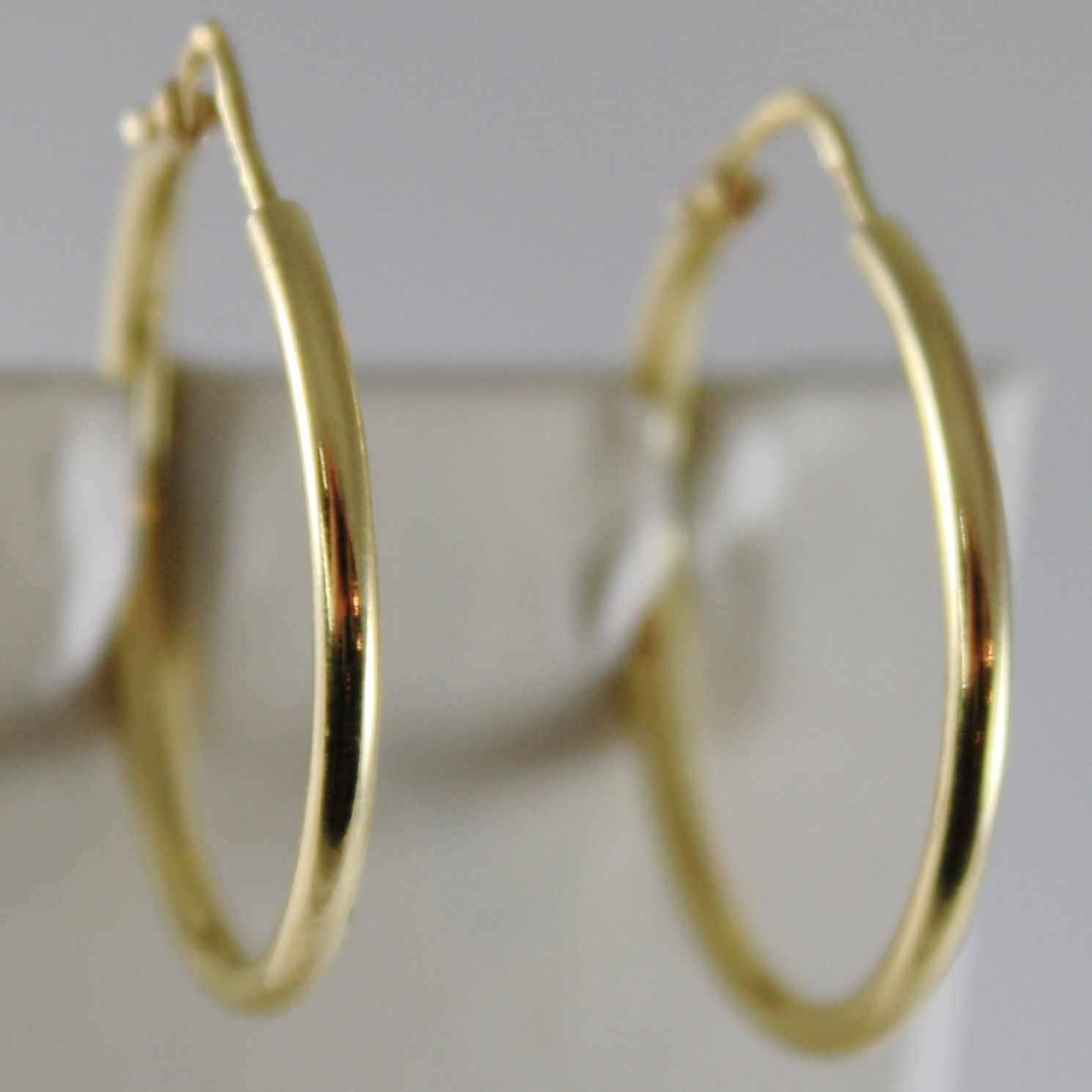 18K YELLOW GOLD EARRINGS CIRCLE HOOP 24 MM 0.94 INCHES DIAMETER MADE IN ITALY