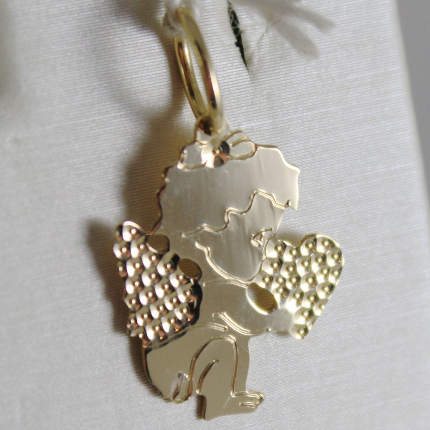 SOLID 18K YELLOW GOLD PENDANT FLAT GUARDIAN ANGEL HEART ENGRAVABLE MADE IN ITALY