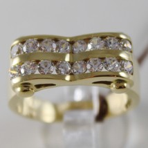 SOLID 18K YELLOW GOLD BAND RING LUMINOUS, TWO ZIRCONIA RAILS, MADE IN ITALY