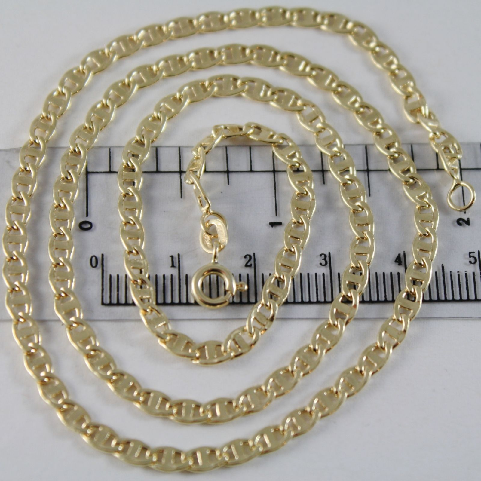 18K YELLOW GOLD CHAIN 3.5 MM FLAT NAVY MARINE MESH 19.70 INCHES MADE IN ITALY