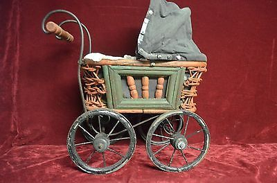 "VINTAGE/ANTIQUE DOLL STROLLER/BABY BUGGY 15"" TALL WITH MOVING WHEELS & TOP FOLDS"
