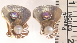 Vintage Jewelry Clip-on Earrings Gold-tone with Opal Pearl & Rainbow Rhi... - $43.99