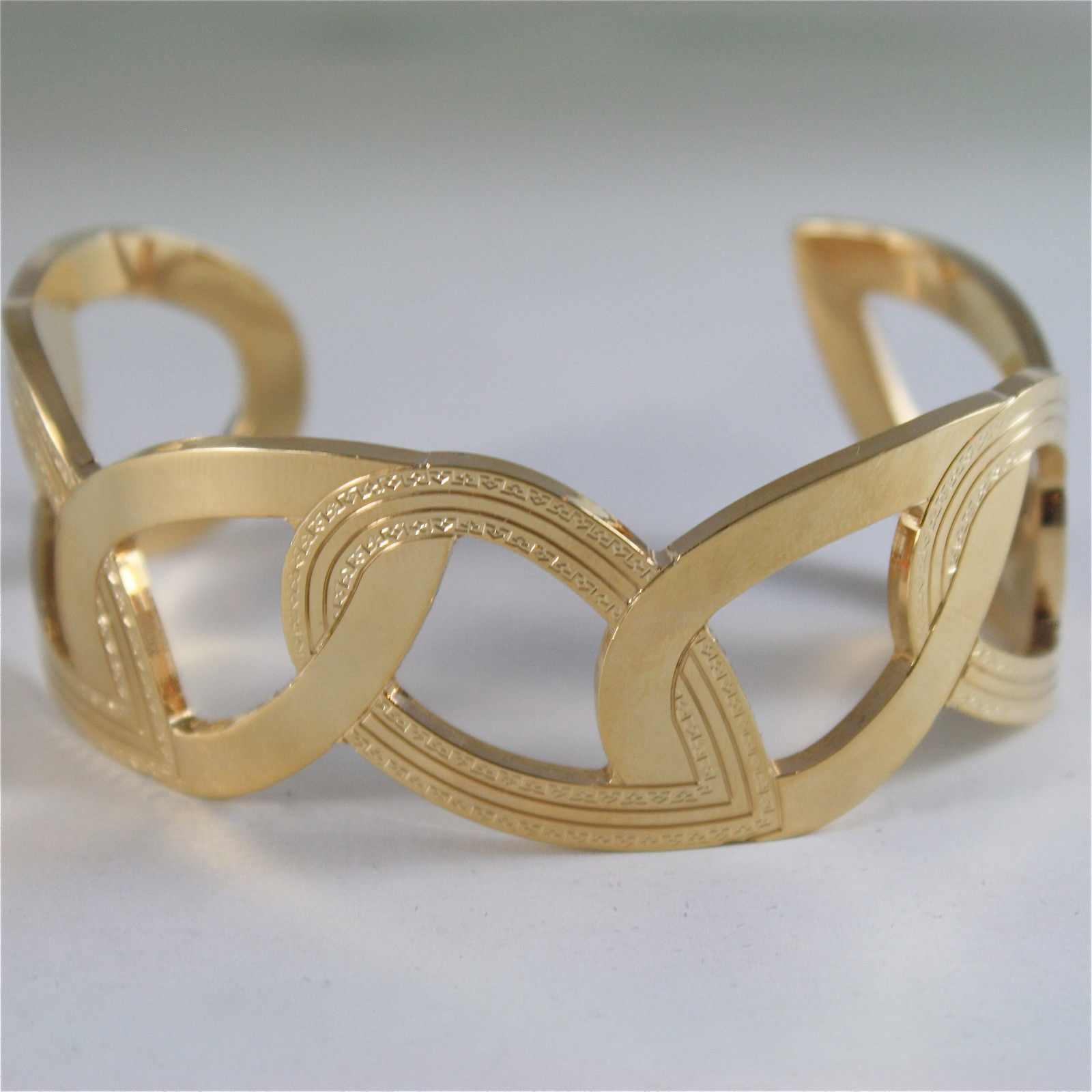 YELLOW GOLD PLATED BRONZE REBECCA BANGLE BRACELET ELIZABETH DROPS MADE IN ITALY