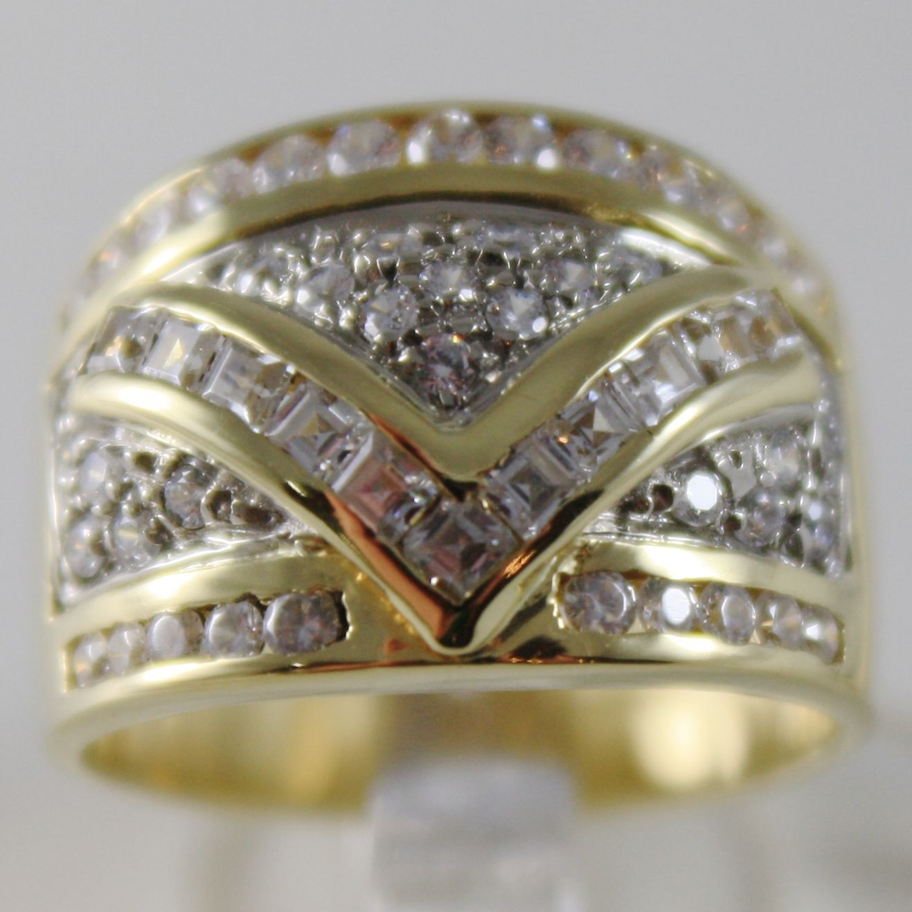 SOLID 18K YELLOW GOLD BAND RING LUMINOUS ZIRCONIA PRINCESS CUT, MADE IN ITALY